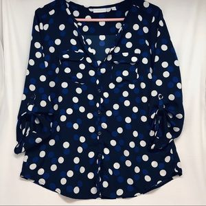 New York & Company Navy Blue\ White Plka Dot Top